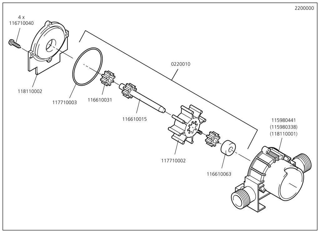 Náhradný diel Těleso čerpadla 2200/01 (staré č. 118110001)(115980441) pro Pumpa Wolfcraft 2200000