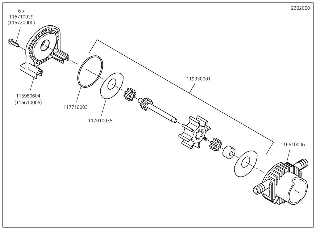 Náhradný diel Těleso čerpadla 2202(116610006) pro Pumpa Wolfcraft 2202000