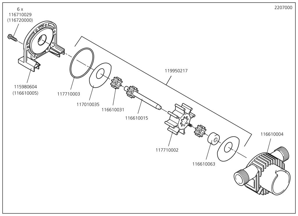 Náhradný diel Těleso čerpadla 2206/07(116610004) pro Pumpa Wolfcraft 2207000