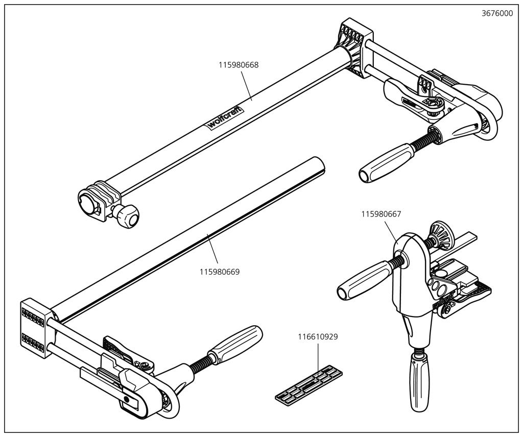 Náhradný diel Montážní skupina ¿3676(115980669) pro Sada PRO pro montáž dveřních zárubní Wolfcraft 3676000