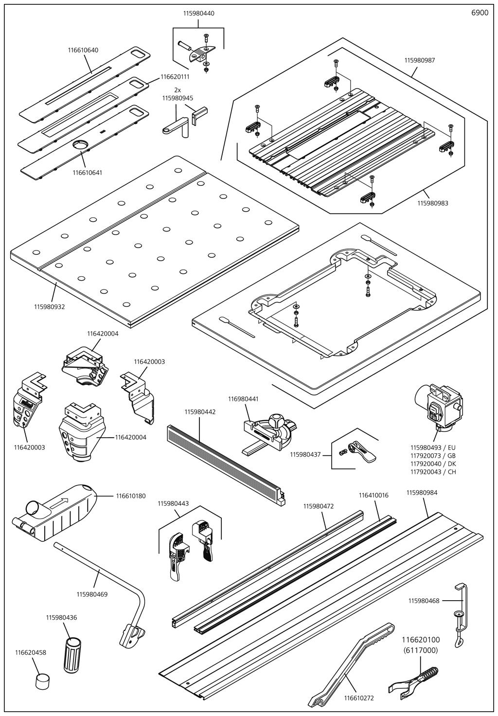 Náhradný diel Montážní skupina deska + stroj deska s hliníkovou lištu 6900(115980987) pro 6900000 Pracovní stůl Wolfcraft  MASTER cut 2000