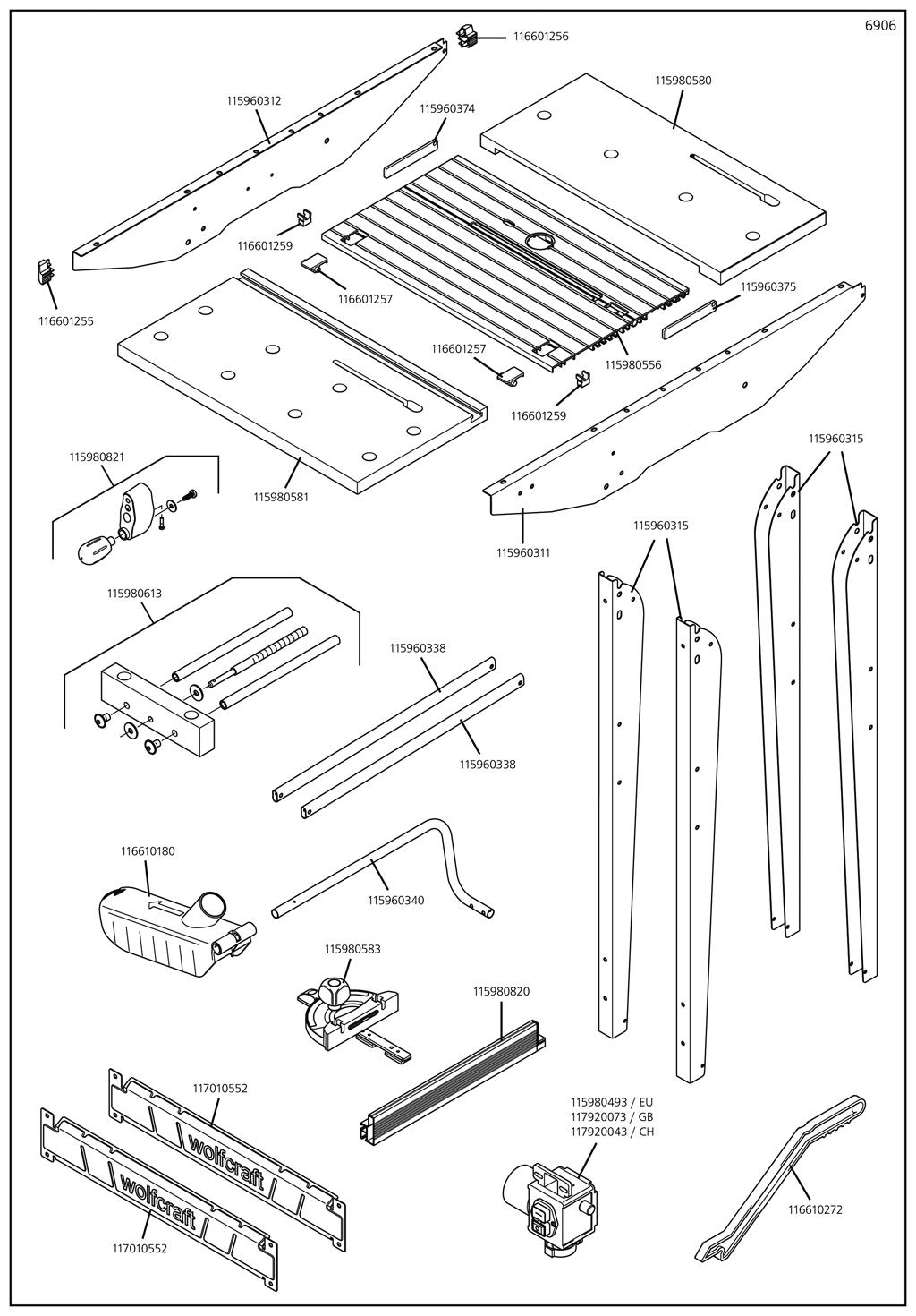 Náhradný diel Stroj deska 6906(115980556) pro Pracovní stůl Master cut 1500 Wolfcraft 6906000
