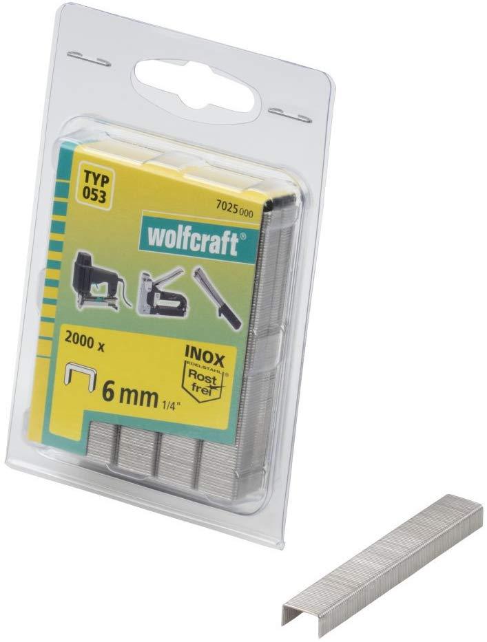 Wolfcraft Široké sponky do sponkovačky výška 6 mm 2000 ks 7025000