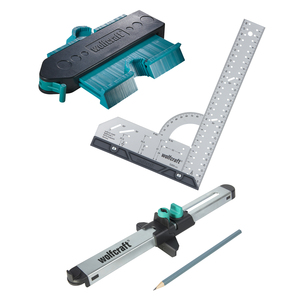 Wolfcraft sada pre presnú montáž laminátových podláh - uholník, obrys.šablona, zalícovávač 6976000